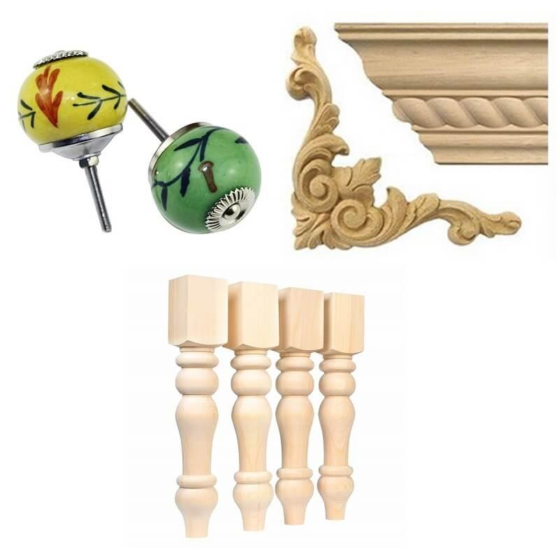 úchytky, ornamenty a nábytkové nohy na dokrášlenie vášho nábytku