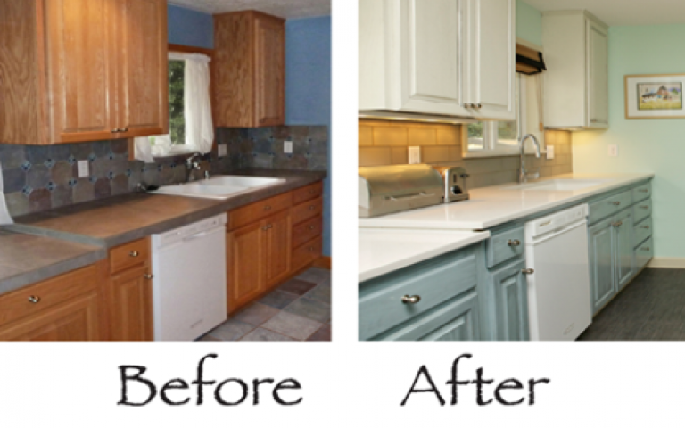 Painting Old Kitchen Laminate Cupboards With K