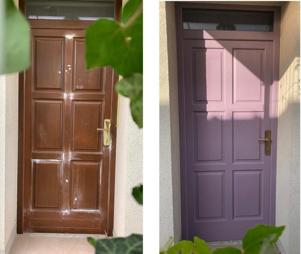 premaľované fialové vchodové dvere